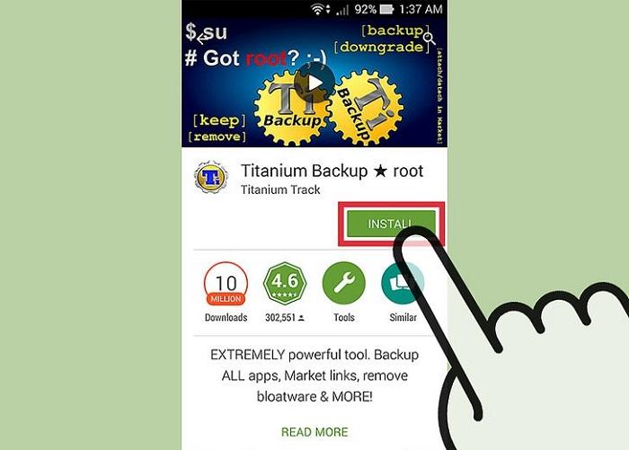 """Приложение """"TitaniumBackup"""""""