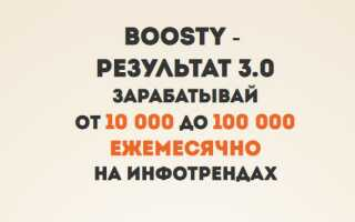 Курс Boosty Результат 3.0 или от 10 000 до 100 000 рублей ежемесячно на платформе Boosty